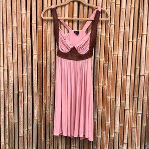 Dresses & Skirts - Pink & Brown Leather Trim Stitched Dress XS